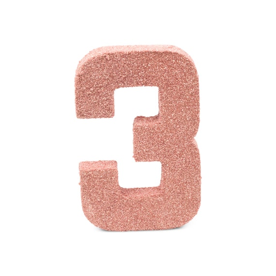 """8"""" Glitter Number 3, Paper Mache Number 3, Giant Rose Gold Number Centerpiece Number Three Table Letters Large Decorative Rose Gold Birthday"""