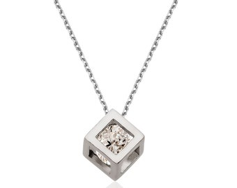 Silver Cube Necklace - IJ1-1895