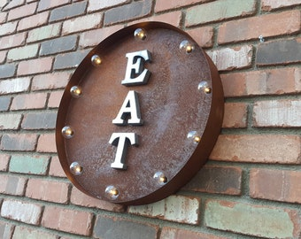 ON SALE! EAT Plug-In or Battery Operated led Rustic Metal Round Marquee Eatery Bar Cafe Restaurant Diner Sign - 14 Colors!