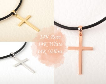 Rose Gold Cross Necklace 14K Solid Gold Baptism Cross Pendant with Leather Cord Necklace Cross Rose Gold Cross Pendant BloomDiamonds