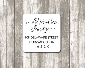 Return address label - custom- 2 x 2 inch square, white photo gloss label, sticker,  wedding announcements - SET OF 20