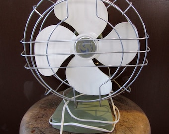 Vintage Electric Tabletop Fan, Green and White Fan, Vintage Superior Fan, Industrial Vintage Fan, Home Decor