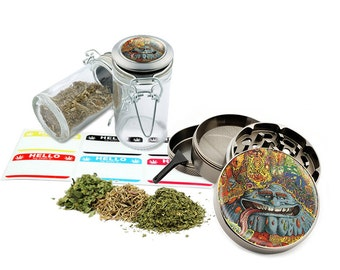 "Psychedelic - 2.5"" Zinc Alloy Grinder & 75ml Locking Top Glass Jar Combo Gift Set Item # 110514-0041"