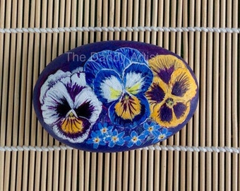 Pansies and Forget me nots hand painted pebble art, gift for her, ready to ship.
