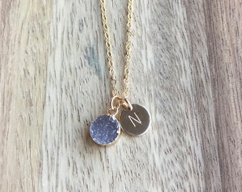 Druzy Initial Necklace, Personalized Druzy Necklace, Personalized Bridesmaid Necklace, Hand Stamped Necklace, 14k Gold Fill, Charm Necklace