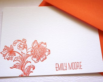Personalized Letterpress Stationery Wild Flowers Tangerine Orange