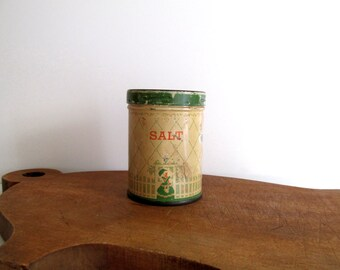 Rustic Metal Tin Salt Shaker Vintage Cream and Jadeite Green Metal Shaker