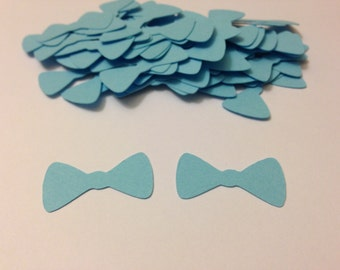 Bow Tie Confetti - Baby Blue Bowtie Die Cuts / Baby Shower Confetti / Party Confetti / Paper Bow / Embellishment / Scrapbooking
