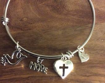 Bangle bracelet, Love, Peace and Hope