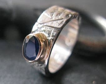 Blue Sapphire Ring Rustic Silver Gold Size 6 3/4 Gemstone Ring Sapphire Engagement Sapphire Wedding OOAK Unique Sapphire Oval Bezel Set