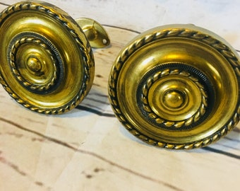 4 Matching Solid Brass Curtain Tie Backs Round Simple Mid Century