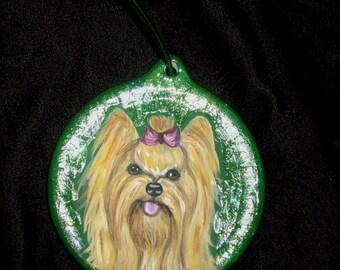 Yorkshire Terrier Yorkie Dog Custom hand Painted Christmas Ornament Decoration