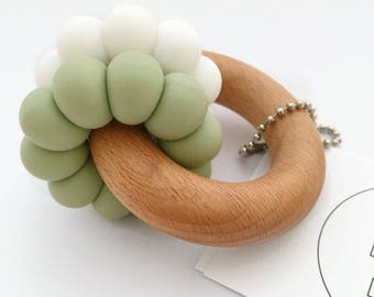 DUO Teether - Olive and White Teether - Silicone and Beech Teething Ring - Silicone Bead Teether - Baby Teething Toy - Wooden Teether