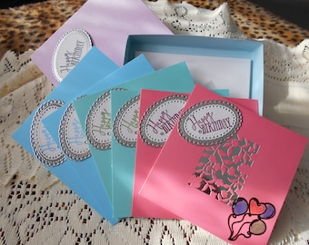 Boxed Set of Birthday Cards, 6 cards and envelopes