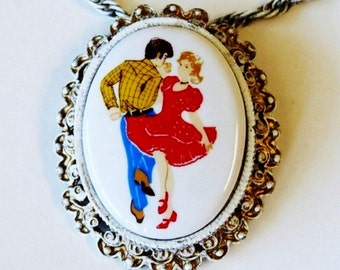 1950s Cameo Brooch Necklace Porcelain Florenza Gold-Ornate Hand Painted Square Dance