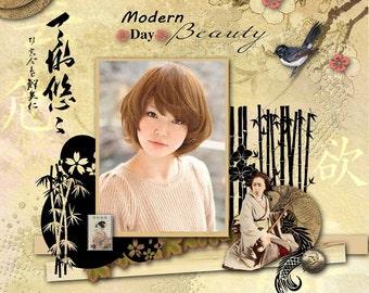 Japan Scrapbook Kit : Vacation, travel, Japanese Cherry Blossom , Japanese geisha, Kimono, Digital 20 x papers and  60 x embellishments