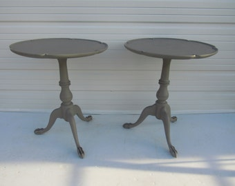 Pair English Clawfoot Tables Paris Apartment Tables Painted Side Tables  Cottage Tables Piecrust Tables Painted Night