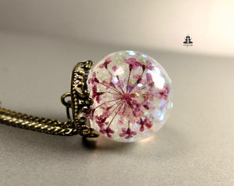 Necklace - Real Queen Anne's lace (dill) flowers with rainbow glitter
