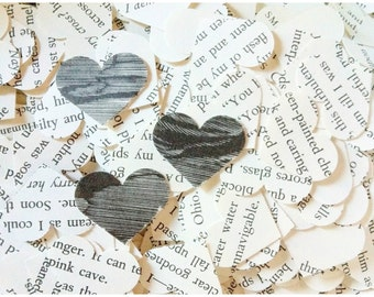 Heart Shaped Confetti / Wedding Table Confetti / Book Page Confetti / 1 Inch Confetti / Baby Shower Confetti