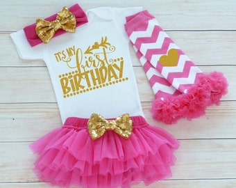 Baby Girl First Birthday Outfit, One Birthday Shirt, Cake Smash, 1st Birthday Outfit, Princess Birthday Bodysuit, Tutu Outfit, Birthday Gift