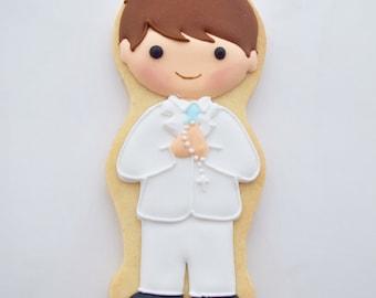 First Communion Gift,  First Communion Boy Cookie, Confirmation Gift, 1 st Communion Boy Cookie Favor, Confirmation Boy Cookie Gift