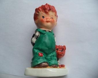 Vintage Ornament Goebel Red Head Boy and Dog 1957