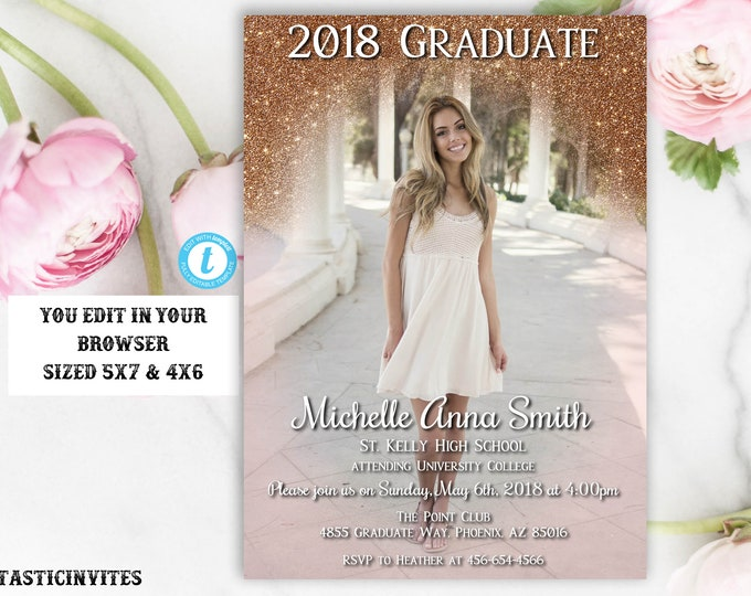 Rose Gold Graduation Invitation Template, Instant Download, Glitter, Editable, Class of 2018, Graduation, Senior, High school, College, Edit
