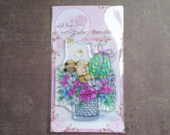 Wild Rose Studio pet Bunny basket Easter egg party clear stamp