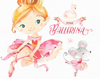 Pink Ballerina. Watercolor clipart, little girl, ballet dancer, pointe, banner, birds, wreath, bows, mouse, swan, flowers, cute, skin tones