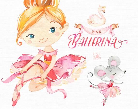 Pink Ballerina. Watercolor Clipart Little Girl Ballet