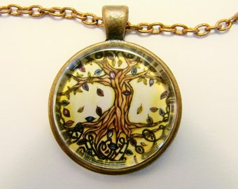 TREE of LIFE Necklace -- Joyful Tree of Life in full leaf, Harmony, Unity of Nature, Spiritual art, Friendship token