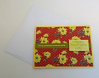 Mother's Day Greeting Card Handmade Red and Yellow Floral
