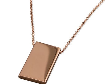 46cm Long Rose Gold Plated Plain Ingot Sterling Silver Necklace