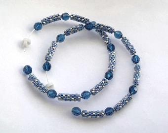 Crystal blue hoop earrings | beaded blue earrings | woven beaded blue jewelry | glass beaded hoops