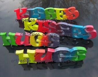Wood letters HUGS KISSES - Set of 2 - Colour combo A