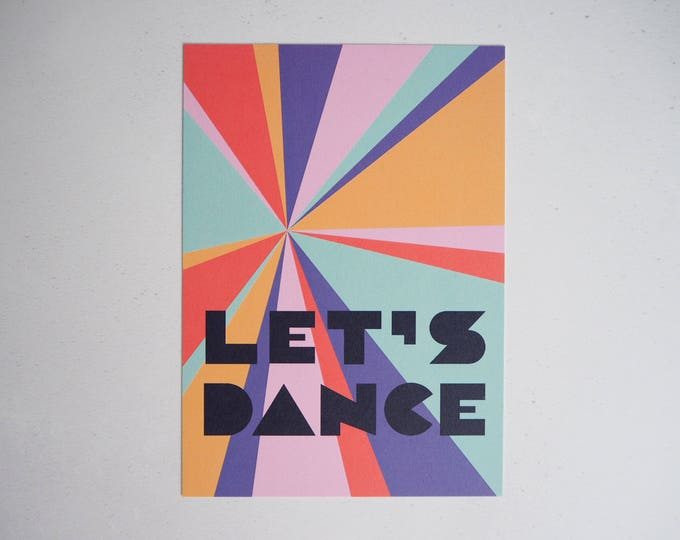 Let's dance rainbow typographic print