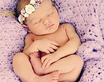 Tieback Flower Crown Headband, Newborn Photo Prop, Baby Tieback Headband, Baby Flower Crown, Newborn Headband, Girls Flower Crown