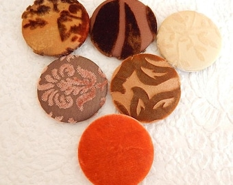 CLEARANCE - 6 velvet fabric covered buttons, size 75