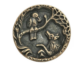 Fox and Crow 13/16 inch ( 21 mm ) Susan Clarke Button Antique Brass Color