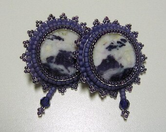 Tiffany Stone Bead Embroidered Sterling Silver Post Earrings