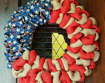American Flag, 4th of July Wreath, Burlap Flag, 4th of July, Fourth of July Wreath, Patriotic Wreath, Memorial Day, Veteran, Military