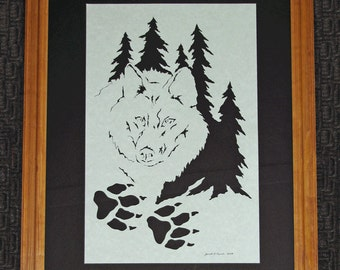 Wolf - Scherenschnitte - Hand Paper Cutting Art signed and dated By Janet Lynch -16x20 Framed