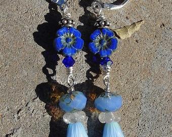 Cobalt Blue Czech Glass Bead Earrings, Periwinkle Blue Glass Bead Dangle Earrings, Bird's Egg Blue Earrings