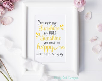 You Are My Sunshine SVG Cut File - You Make Me Happy When Skies Are Gray - Cutting File - Cricut - Silhouette - Instant Download