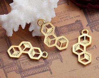 5 charms in the shape of Hexagon / 2.3 cm Golden Metal socket / Animal / bug / bee
