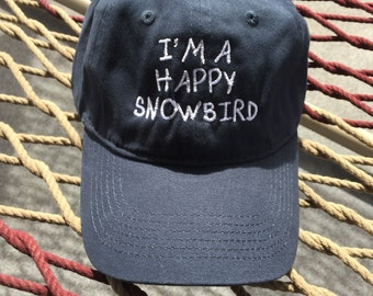 Happy Snowbird - Navy Cap With White Letters