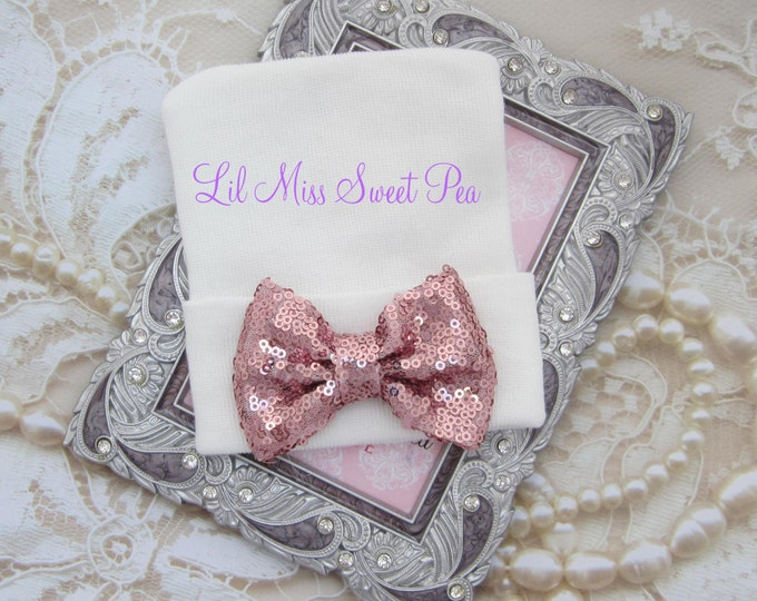 Newborn Hospital Hat, white with pink sequin bow, ready to ship, beenie, infant, baby hat, Lil Miss Sweet Pea Boutique
