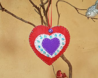 Handmade felt heart ornament