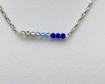 Blue Beaded Bar Necklace