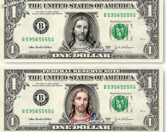 JESUS Christ on Real Money - Custom Dollar Bill Art